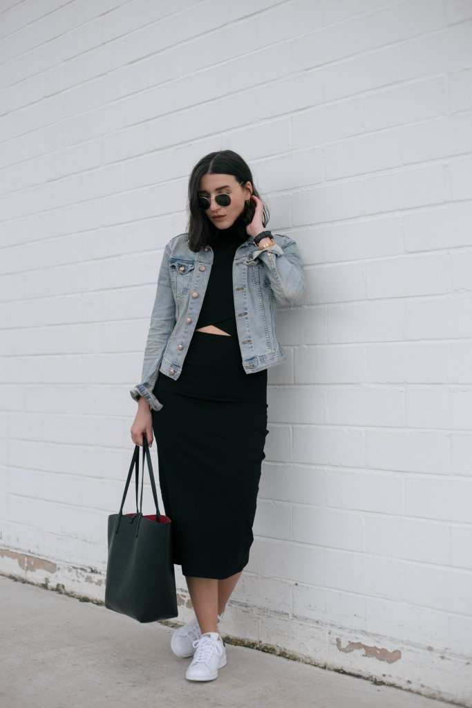 Basic Apparel-Sophievandaniels-Aboutyou-Rayban-sneakers-adidas-stansmith-zara-blogger-fashion-mididress-4